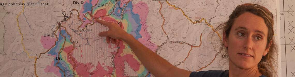 Analyst describes geospatial fire model output.
