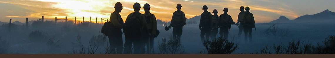 Decorative banner. Photo of firefighters standing on smoky ground silhouetted against sunrise.