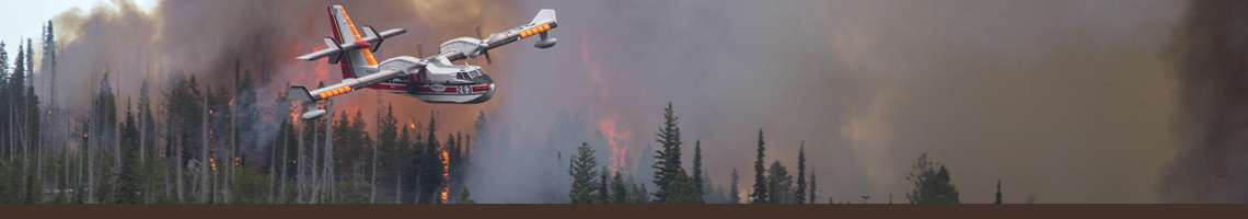 Decorative Banner. A Airtanker flying above burning forest in the background.