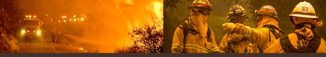 Decorative banner. Photo 1 shows fire truck in heavy fire area. Photo 2 shows firefighters strategizing.