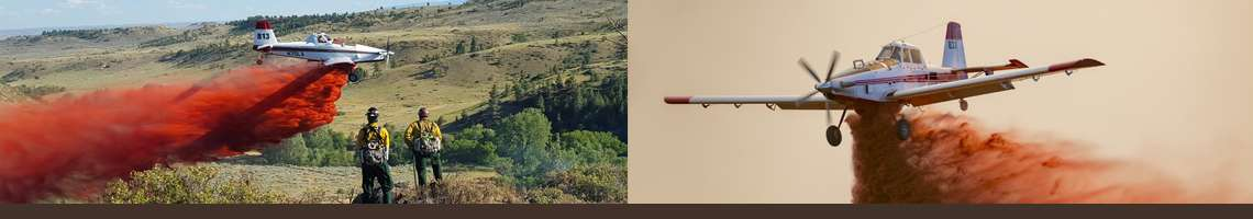 Decorative banner. Two photos from left to right: a single engine airtankers dropping retardant as two firefighters look on, and a single engine airtanker drops retardant.