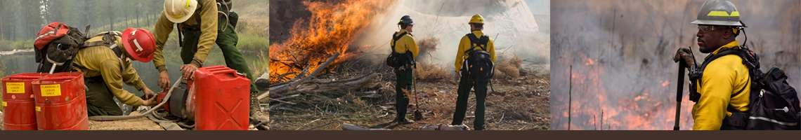 Decorative banner. Three wildland fire operations photos. Left to right: two firefighters work on a water pump, two firefighters stand monitoring a burning brush pile, a firefighter stands with a tool in hand in front of a backdrop of flames.