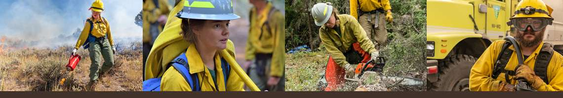 Decorative banner. Four photos from left to right: a female firefighter uses a drip torch to create a break, a female firefighter cares a hose over her shoulder, a female firefighter uses a chainsaw to cut a downed tree, a firefighter in goggles walks toward the camera while pulling out the hose from the fire truck.