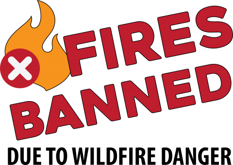 Fires banned due to wildfire danger with X prohibited symbol over a flame