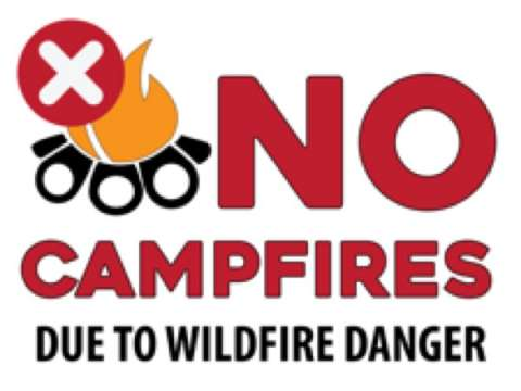 No Campfires Due To Fire Danger, 24x18 sign