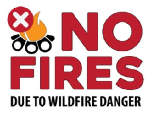 No Fires due to wildfire danger with campfire and prohibited symbol