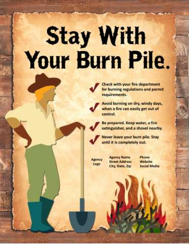 Stay with your burn pile, woman holding shovel next to burn pile, plus tips