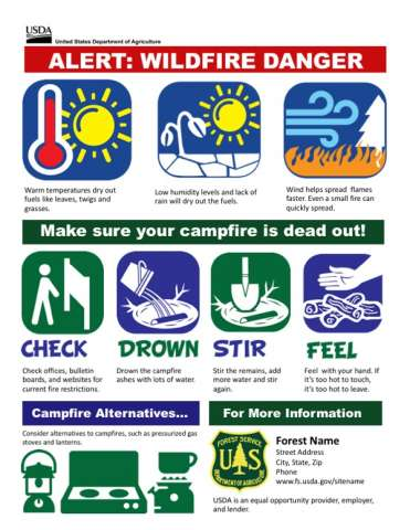 Alert: Wildfire Danger with weather graphics, how to put out your campfire and campfire alternatives