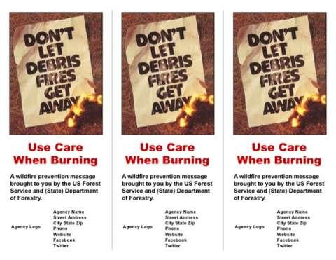 "Front cover with image of vintage poster ""Don't let debris fires get away"