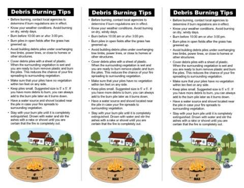 Back side with tips and debris burn graphic