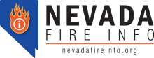 Nevada Fire Info Logo; Blue image of nevada state with red flame in the middle and nevadafireinfo.org below.