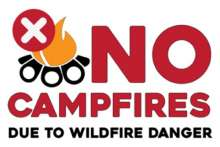 No campfires due to wildfire danger, campfire with prohibited icon