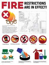 Fire restrictions are in effect with prohibited symbols and campfire alternatives