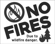 No fires due to wildfire danger, tree with flames, fires prohibited symbol