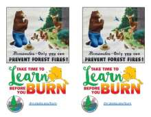 Smokey Bear and Woodland Animals with Learn before you burn logo