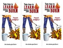Front side of take time to burn before you learn rck card with person raking burn pile
