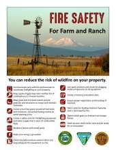 Fire Safety for Farm and ranch with photo of windmill, mountains and grassy field, with tips for reducing risk of wildfire