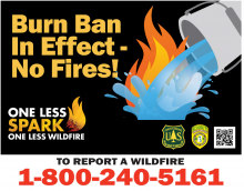 Burn Ban In Effect-No Fires! One Less Spark One Less Wildfire