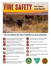 Fire Safety for Farm and Ranch, with a photo of cattle in a field and tips to reduce the risk of wildfire on your property