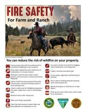 Fire Safety for Farm and Ranch, with image of cowboys rounding up cows with wildfire in background, plus tips on fire prevention.