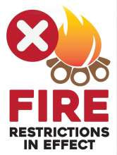 Fire restrictions in effect with illustration of a campfire and red prohibited X