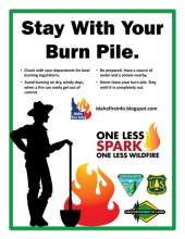 Idaho Stay with Your Burn Pile Flyer; woman holding shovel by fire