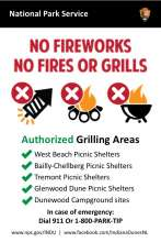 National Park Service sign, NPS logo, No Fireworks, no fires, no grills