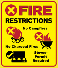 Fire Restrictions; Campfire icon with red prohibited X and No campfires text; grill icon with red prohibited X and no charcoal grills text; propane stove icon with OK checkmark and propane stoves OK text.