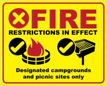 "Fire restrictions with red x; campfire in fire ring at developed site with OK checkmark; pedestal grill at developed site with OK checkmark; ""Designated campgrounds and picnic sites only"" text"
