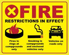 "Bright yellow background with red border; ""Fire restrictions in effect""; campfire ring icon with ""fires in rings at designated campgrounds only"" text; smoking icon with ""Smoking in campgrounds and enclosed vehicles only"" text; vehicle icon with ""vehicles on roads only"" text."