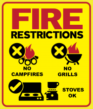 "Restrictions"" text; campfire icon with prohibited X and ""No campfires"" text; grill icon with prohibited X and ""No Grills"" text; propane stoves with OK check mark and ""Stoves OK"" text"