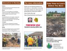 Page 1 of brochure with image of escaped burn pile in front of house