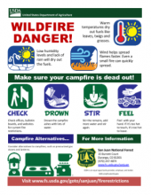Flyer with graphic describing fire danger weather, how to put out your campfire, and campfire alternatives