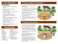 Page 2 with tips and graphics showing burn pile and burn barrel best practices
