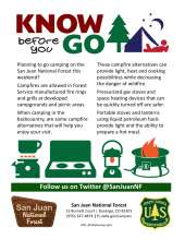 Know before you go campfire graphic and campfire alternative examples, Forest portal sign, Forest Service shield
