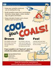 Cool Your Coals; Drown, Stir and Feel to make sure your fire is dead out