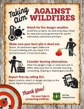 Take Aim against wildfires while debris burning: fire danger weather; make sure your fire is dead out; burning alternatives and call 911