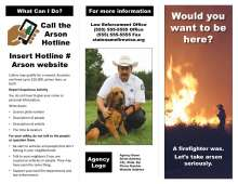 Brochure with firefighter at a brush fire; arson canine, arson hotline