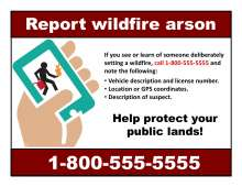 Report wildfire arson with hand holding a cell phone with graphic of arsonist