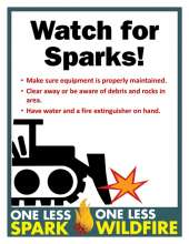 Watch for Sparks with dozier, tips and One Less Spark, one less wildfire logo