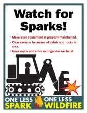 Watch for Sparks with feller, tips and One Less Spark, one less wildfire logoo
