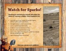 Watch for Sparks flyer with tractor in field and tips