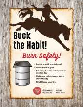Bucking horse and rider, with text that says Buck the Habit, Burn Safely, and a burn barrel diagram with tips