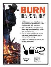 Burn Responsibly: 4 tips and man with rake at burn pile