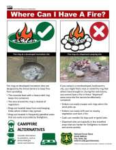 Where Can I Have A Fire flyer with photos and graphics showing developed and dispersed fire rings