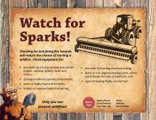Watch For Sparks (horizontal, with farm equipment art) on rustic background with Smokey Bear