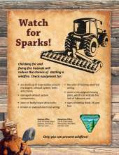 Watch for Sparks, with image of tractor, Smokey Bear and tips, BLM logo