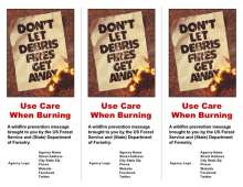 "Front cover with image of vintage poster ""Don't let debris fires get away"