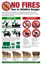 No fires due to wildfire danger, flame under red prohibited slash symbol. Icons with prohibited and permitted activities for smoking restrictions, campfire alternatives, and portal signs for 4 national forests,