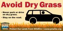 Avoid Dry Grass: Car parked on dry grass with flames, never park or drive on dry grass, stay on the road